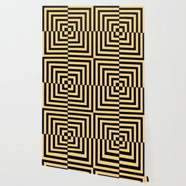 Graphic Geometric Pattern Minimal 2 Tone Illusion Squares (Golden Yellow & Black) Wallpaper