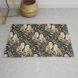 Wooden Wonderland Barn Owl Collage Rug