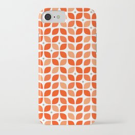 Red geometric floral leaves pattern in mid century modern style iPhone Case