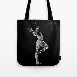 0443s-MM Black and White Zebra Striped Art Nude Figure on Black Tote Bag