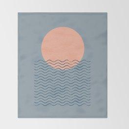 Ocean Wave Sun Blue - Mid Century Modern Throw Blanket