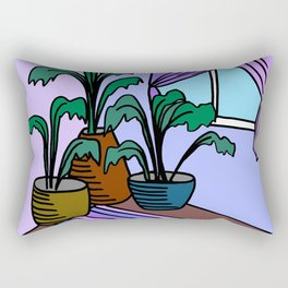 Three Potted Plants in the Corner - Lavender Blue Rectangular Pillow