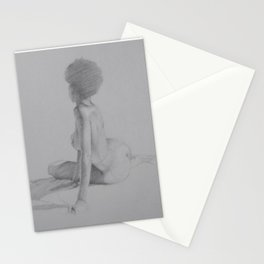 Realistic Female Figure Nude Woman with Afro Pencil Drawing on Gray Stationery Cards