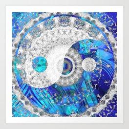 Blue And White Art - Yin And Yang Symbols - Sharon Cummings Art Print