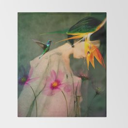 Woman between flowers / La mujer entre las flores Throw Blanket