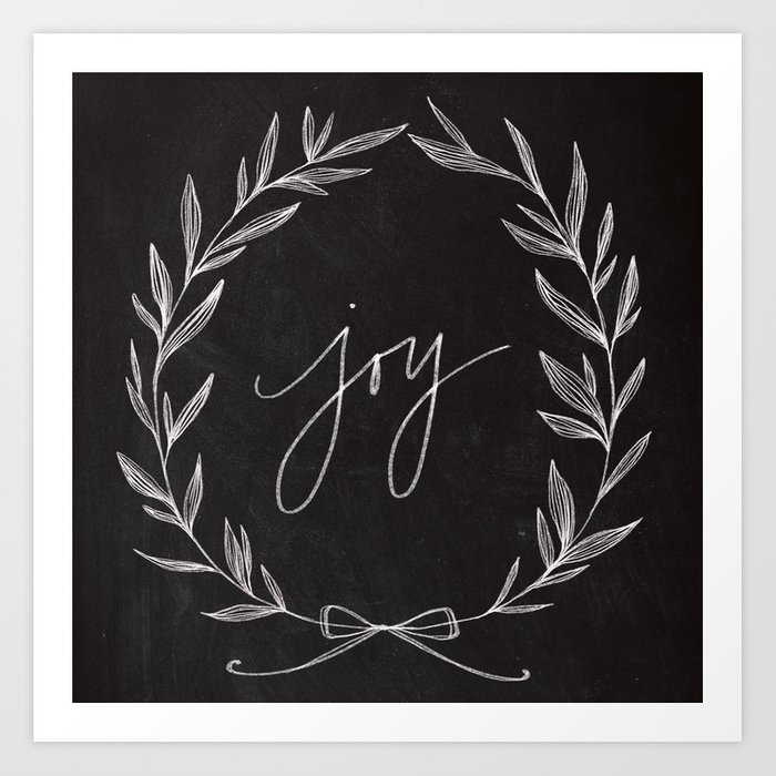 Chalkboard Art Joy Wreath Art Print By Baronartco Society6