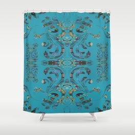 Deep Turquoise Boujee Boho Medallion Shower Curtain