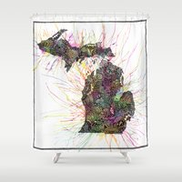 michigan Shower Curtains featuring Michigan by Kalie Hoodhood