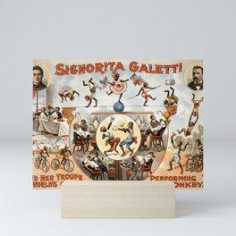 Signorita Galetti and her performing monkeys vintage poster Mini Art Print
