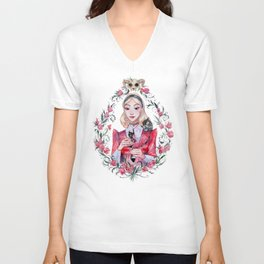 Red cute witch Unisex V-Neck