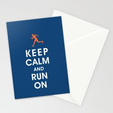 Keep Calm and Run On (male runner) Stationery Cards
