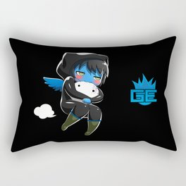 Fuzzy Chibi Luc (Expression 2) w/ Black Background Rectangular Pillow