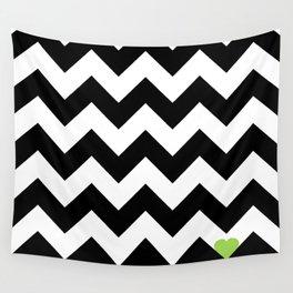 Heart & Chevron - Black/Green Wall Tapestry