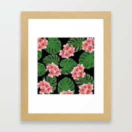 Tropical Floral Print Black Framed Art Print