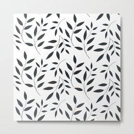 Leaves Patten In Black & White Metal Print