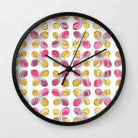 flower pattern Wall Clocks featuring flower pattern by VessDSign