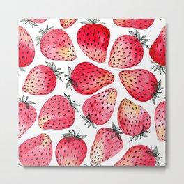 Strawberries watercolor and ink Metal Print