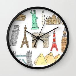 Illustrated landmarks Wall Clock