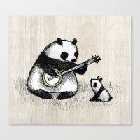 banjo Canvas Prints featuring Banjo Panda by Sophie Corrigan