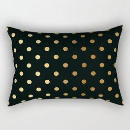 Gold polka dots on black pattern Rectangular Pillow