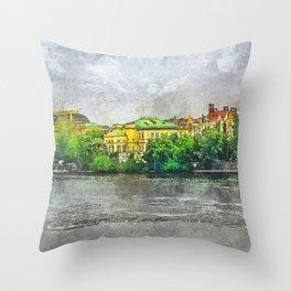 Praha city art #praha #prague Throw Pillow