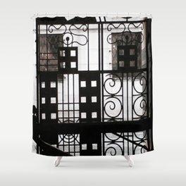 Black and White Door Window Shower Curtain