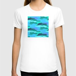 Sky Blue and Forest Green Camo Pattern T-shirt