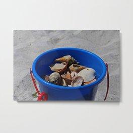 Blue Beach Bucket Metal Print