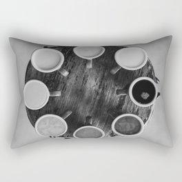 Coffee Circle (Black and White) Rectangular Pillow