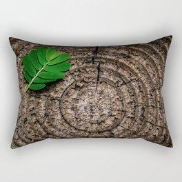 Green leaf Brown wood Rectangular Pillow