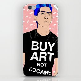 Buy Art, Not Cocaine - Dude with Blue Hair Typography Digital Drawing iPhone Skin
