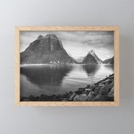 Milford Sound Panorama in black and white Framed Mini Art Print