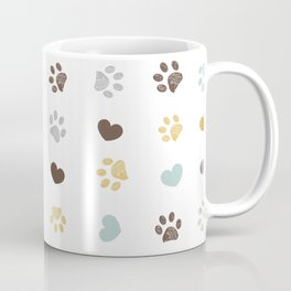 Doodle grey, yellow,  turquoise small paw prints with hearts seamless fabric design pattern vector Coffee Mug