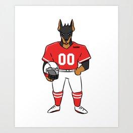 Doberman Dog Sports Football Kids Gift Art Print