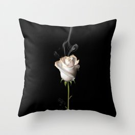 White Burning Rose Throw Pillow