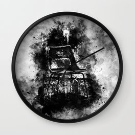 chair at lost place splatter watercolor black white Wall Clock