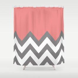 CORAL COLORBLOCK CHEVRON Shower Curtain
