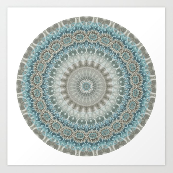 Grey, Blue and Ivory Mandala Kunstdrucke