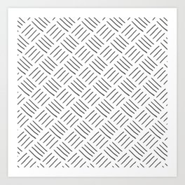 Gray and White Cross Hatch Design Pattern Art Print
