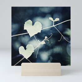 Heart Love Nature Photography, Hearts Botanical Print, Navy Blue Green Photograph, Bedroom Photo Mini Art Print