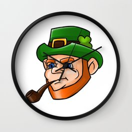 Leprechaun Face Smoking Pipe Wall Clock