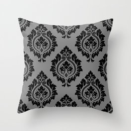 Decorative Damask Pattern Black on Gray Throw Pillow