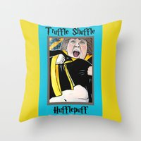 hufflepuff Throw Pillows featuring Truffle Shuffle Hufflepuff by Portraits on the Periphery