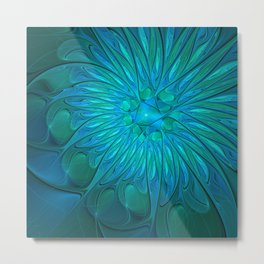 Floral in Sea Colors Metal Print