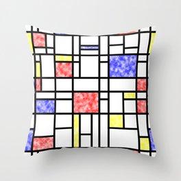 Modern Art Plasma Red Yellow Blue Grid Pattern Throw Pillow