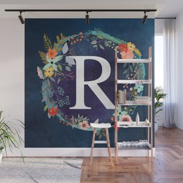 Personalized Monogram Initial Letter R Floral Wreath Artwork Wall Mural