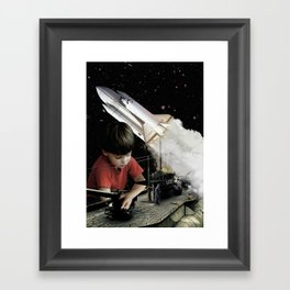 Small kids with big toys Framed Art Print
