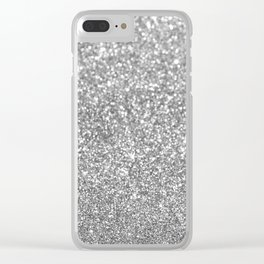 Elegant chic girly faux silver trendy abstract glitter Clear iPhone Case