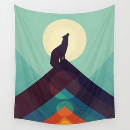 Howling Wild Wolf Wall Tapestry
