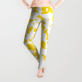 Spots - White and Gold Yellow Leggings